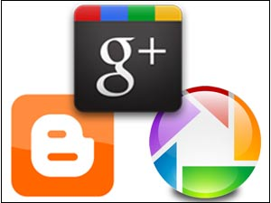 Blogger, Google Plus and Picassa logos