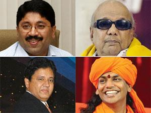 Dayanidhi Maran, M Karunanidhi, Kalanidhi Maran and Swami Nithyananda