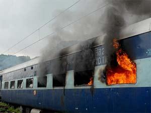 Trains set ablaze