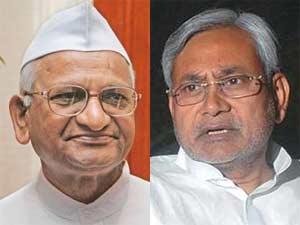 Bihar Chief Minister Nitish Kumar-Anna Hazare