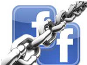 Facebook logo with chain