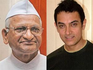 Anna Hazare and Aamir Khan
