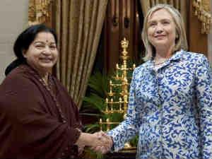 Tamil Nadu Chief Minister Jayalalithaa-US Secretary of State Hillary Clinton