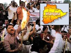 Telangana map and protest