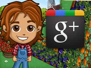 FamrVille game and Google Plus logo