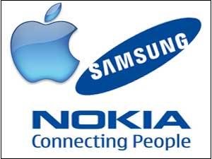 Apple, Samsung and Nokia logos