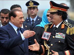 Silvino Berlusconi and Muammar Gaddafi