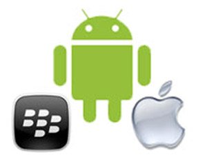 Android, Apple and BlackBerry logos