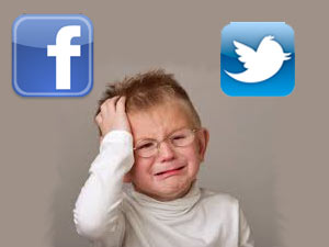 Crying child, Facbook and Twitter logo