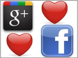 Google Plus Facebook love