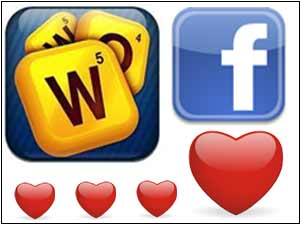 'Words With Friends' game and Facebook logo