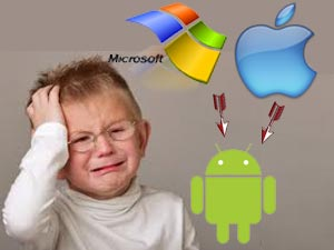 Crying child, Apple Microsoft, Android logos
