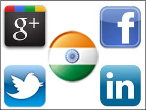 Social sites logo and Indian flag