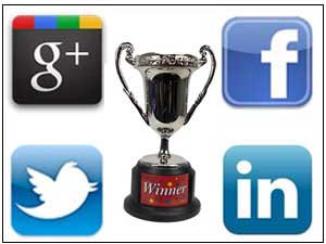 Social sites logos with a Trophy