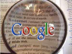Google logo on dictionary lens