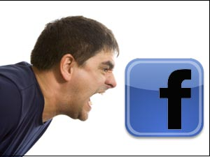 Angry man and Facebook logo