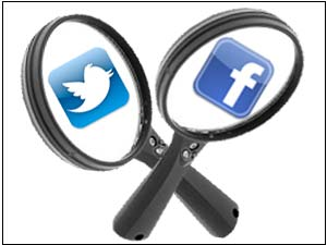 Twitter and Facebook logo on Lens