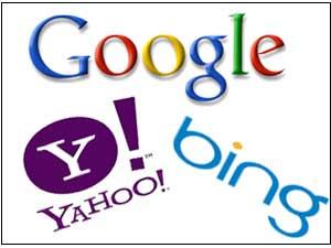 Google, Yahoo and Bing logos