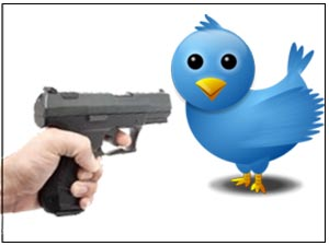 Gun and Twitter bird logo