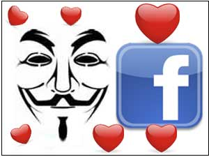 Anonymous and Facebook logo