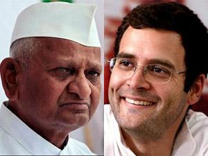 Anna Hazare and Rahul Gandhi