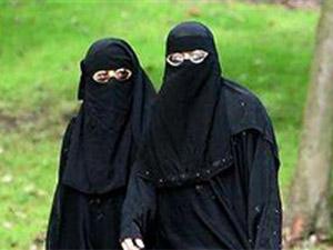 Burqa clad Muslim women