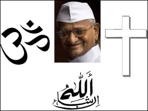 Anna Hazare and religious symbols