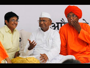 Kiran Bedi, Anna Hazare and Swami Agnivesh