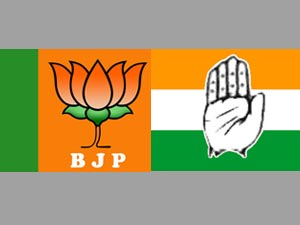 BJP and congress flags