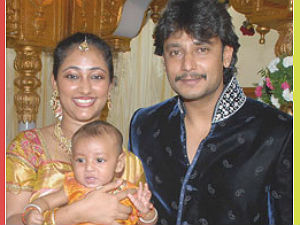 Darshan with wife and kid