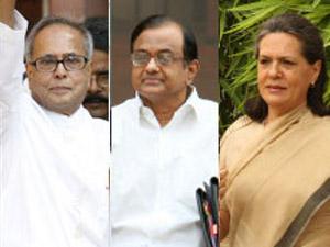 Pranab Mukherjee, P Chidambaram and Sonia Gandhi