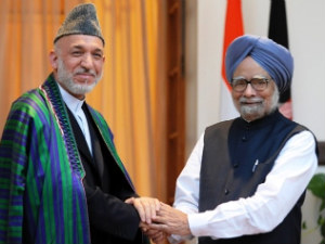 Prime Minister Manmohan Singh and Afghan President Hamid Karzai