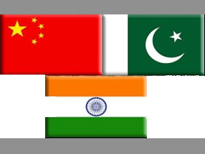China, Pakistan and India flags