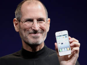 Steve Jobs with an iPhone product