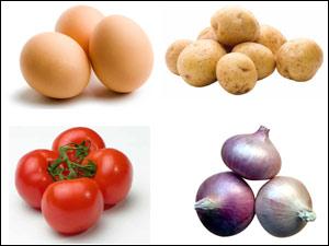 Egg, potato, onion, tomato