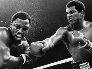 Muhammad Ali and Joe Frazier in action
