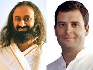 Sri Sri Ravishankar and Rahul Gandhi