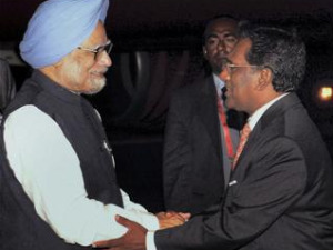 Manmohan Singh with Mohamed Wshed Hassan Manik