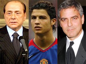 Silvio Berlusconi, Cristiano Ronaldo and George Clooney