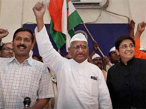 Arvind Kejriwal-Anna-Hazare-Kiran Bedi
