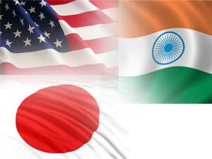India-US-Japan flags
