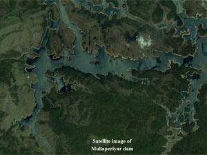 Satellite image of Mullaperiyar dam