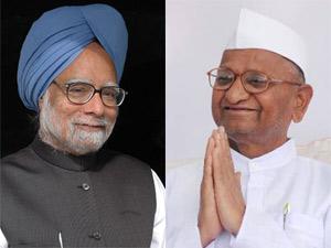 Manmohan Singh and Anna Hazare