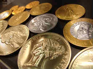 Gold, silver coins
