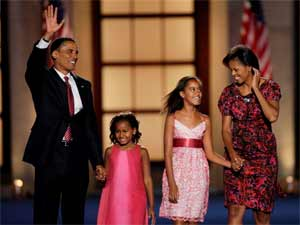 Barack Obama, Michelle and their kids