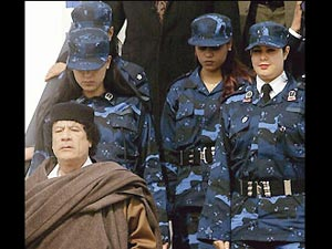 Muammar Gaddafi with female bodyguards