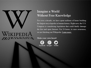 Wikipedia blaocked acced to website to protest SOPA