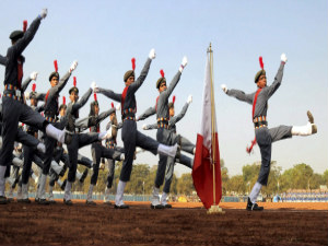 A battalion of cadets with full uniform rehearsal for the Republic Day parade in New Delhi.PTI