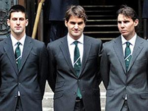 Novak Djokovic with Nadal and Federrer