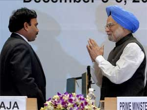 2G accused A Raja and PM Manmohan Singh